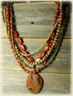 Red Jasper Statement Necklace Pendant Taupe Brass by ChrysalisToo, $84.00