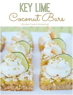 Gluten Free Key Lime Coconut Bars Recipe!  A yummy recipe perfect for any party!