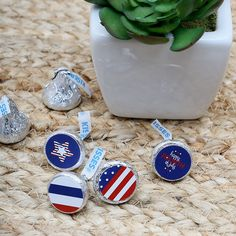 4th of July - Round Candy Labels Independence Day Favors - Fits Hershey's Kisses | BigDotOfHappiness.com Kisses Candy, Hershey Kisses, Lifesaver Candy, Fourth Of July Food, July 4th, Candy Labels, Big Dot Of Happiness, Personalized Party Favors, Patriotic Party