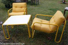 Herlag Sitzgruppe 2x Lounge Sessel + Tisch Stahlrohr Polster gelb