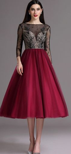 5f6aa3f4a3 Burgundy Tea Length Cocktail Evening Dress with Embroidery (04162217).  edressit.com