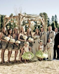 I Love everything about this. Bridesmaids dresses = awesome. tutu's = love it. Tan suits= my favorite minus the jackets