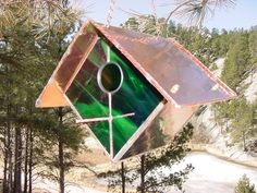 """Iridescent Stained Glass Bird House   Wren Bird Houses are 7""""x7"""" 5"""", And have Hand Hammered removable Copper roofs."""