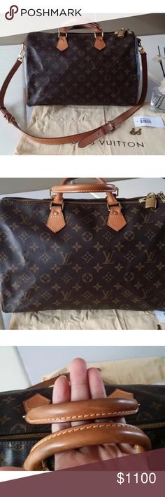 Louis Vuitton Speedy 35 Bandouliere Authentic LV Speedy 35 Bandouliere in Monogram print. Excellent condition except for an ink stain in interior. Includes dustbag. No cracks. No rips. No odor. Still smells new. 🛑NO TRADES🛑 🅿️ay🅿️al price is $950 Louis Vuitton Bags Satchels
