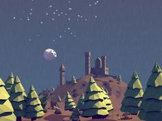 Low Poly Landscape with Castle