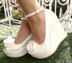 Wedding , Wedding Shoes, Bridal Wedge Shoes,Bridal Shoes, Bridal Platform…
