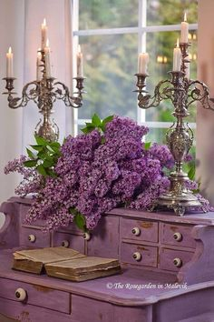 Exquisite silver candelabra and lilacs