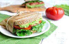 Pea, lettuce & tomato sandwich