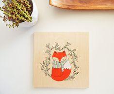 Fox art. Fox painting. Fox artwork. Nursery fox by DecorAsylum