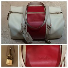 Max Mara handbag, part of the travelling range with details in red Cattle leather.  Price on request.