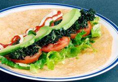TALK wrap: Tomato, Avocado, Lettuce, and Kale!  (a BLT made with Crispy Kale Bacon)