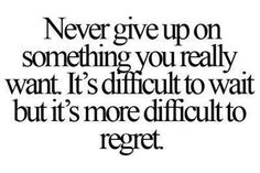 Never give up on something you really want. It 's difficult to wait but it's more difficult to regret.