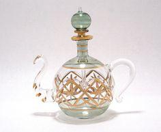 Egyptian Perfume Bottles - Premium Blown Glass Teapot - Green  # 6-525-15