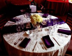 This purple table setting agrees perfectly with our chandeliers ...