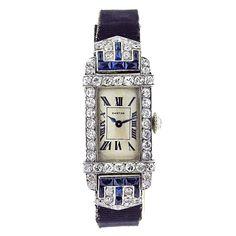 CARTIER Art Deco Ladies Rectangle Diamond Sapphire Watch .1925