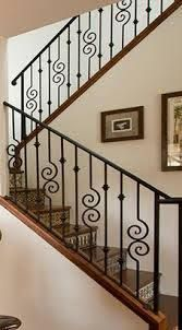 This type of staircase makeover is an obviously inspirational and top-notch idea Diy Staircase Railing, Indoor Stair Railing, Interior Stair Railing, Wrought Iron Stair Railing, Staircase Makeover, Modern Staircase, Staircase Design, Staircases, Steel Railing Design
