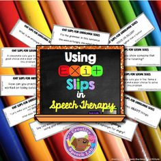 Use these quick, easy & evidence-based EXIT SLIPS for articulation, language & social skills therapy!