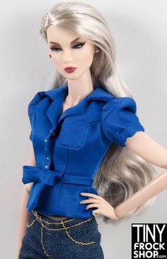 Integrity FR Electric Blue Satin Bow Puff Top
