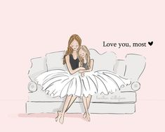 Mama and Daughter Art-Love You, Most with TWO Daughters-Art for Mothers-Inspirational Art for Women-Just Like You, TWO - Mom and Daughter Art Love You Most with TWO daughters Art - Mother Daughter Quotes, I Love My Daughter, Two Daughters, Sayings About Daughters, Beautiful Daughter Quotes, Love You Mom, Rose Hill Designs, Monica Crema, My Children