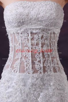Wholesale 2013 Fall Sexy Elegant Mermaid Wedding Dresses Strapless Lace Corset Sheer Tulle Chapel Bridal Gown, Free shipping, $152.21/Piece | DHgate Mobile