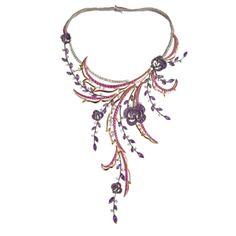Diamiani - Carmen - collana in oro bianco, oro rosa, diamanti, zaffiri e ametista.
