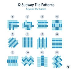 12 creative subway tile patterns Subway tiles are one of the most basic ceramic tiles, but that doesn't mean you can't get creative with t Subway Tile Patterns, Subway Tiles, Wall Tiles, Subway Tile Colors, Tile Layout, Metro Tiles, U Bahn, Tile Projects, Tile Installation