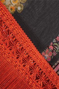 Etro - Fringed Printed Silk-georgette Poncho - Orange - one size