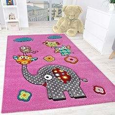 Children's Room Rug Cute, Colourful Animal World -Elephant Andowls Fuchsia Pink , Size:80x150 cm