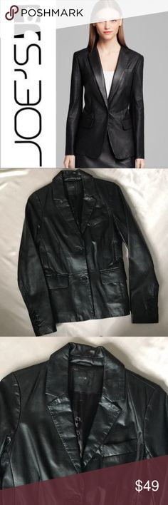 Joe's Black Leather Blazer Jacket Medium So fun Joe's Black Leather Blazer slim fit, not boxy, size medium. Excellent condition. Great for work to night's out!  ~Price is Firm. No further discount unless bundled. Please no offers. I price fairly and in accordance to both Posh's shipping and seller fee. ~No modeling. I sell for me and 2 of my friends. Mostly everything I sell is now too small for my post-prego body, so I cannot model. Joe's Jeans Jackets & Coats Blazers