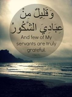 """Qur'an Saba' (Sheba) 34:13:  They made for him what he willed of elevated chambers, statues, bowls like reservoirs, and stationary kettles. [We said], """"Work, O family of David, in gratitude."""" And few of My servants are grateful."""