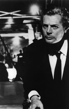 *celebrities, black and white photography, actors, famous people* - Marcello Mastroianni in 8 1/2, Fellini, 1963.