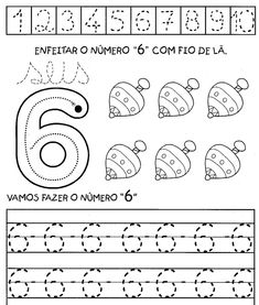 aprendendo%2Bos%2Bnumeros%2Bde%2B1a10%2B6 Numbers Preschool, Learning Numbers, Old Teacher, Free Math Worksheets, School Items, Home Learning, Coloring For Kids, Math Activities, Writing