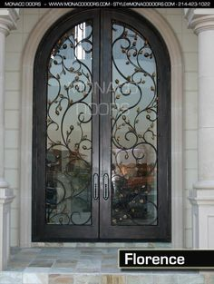 Monaco Doores Name: Florence Finish: Antique Copper Glass: Clear Size: 6' x 10' Style: Arch