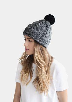a5a19d368f1 Customizable Hat  Hand knit Plexida color block beanie hat with fluffy  handmade pom-pom