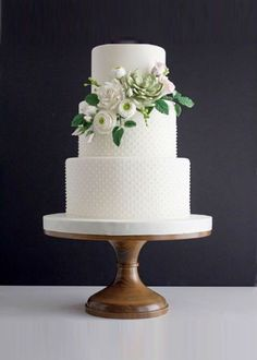 Floral Classic White Wedding Cake on 14 inch Wood Cake Stand country chocolat mariage cake cake country cake recipes cake simple cake vintage Wedding Cake Stands, Fall Wedding Cakes, White Wedding Cakes, Wedding Cakes With Flowers, Beautiful Wedding Cakes, Wedding Cake Designs, Wedding Cake Toppers, White Weddings, Wedding Vows