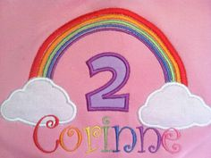 Rainbow Birthday Number Shirt or Onesie - Custom Monogrammed. $21.00, via Etsy.