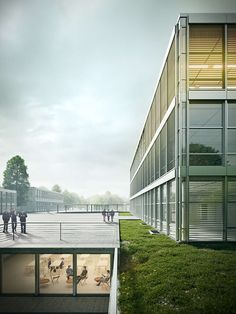 Frauenfeld School - Rendering by Metro Cúbico Digital Architecture Graphics, Architecture Visualization, Chinese Architecture, Architecture Drawings, Architecture Details, Modern Architecture, 3d Visualization, Cgi, Steel Structure Buildings