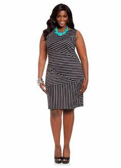 40554cacc5 Ashley Stewart Women s Plus Size Asymmetrical Striped Body Con Dress  Black White 14 16