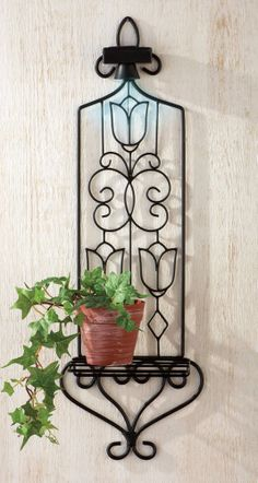 Solar Lighted Decorative Plant Holder Wall Decoration
