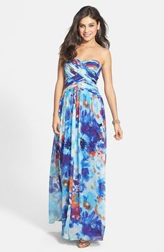 JS Boutique Print Chiffon Strapless Gown | Nordstrom