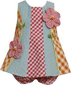 Bonny Baby mixed checks seersucker Dress, no pattern Toddler Dress, Toddler Outfits, Baby Dress, Kids Outfits, Girls Party Dress, Little Dresses, Little Girl Dresses, Party Dresses, Seersucker Dress