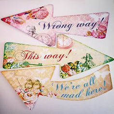 Alice in Wonderland 8 Signs/Arrows Mad Hatters Tea Party Decoration Party Props | eBay