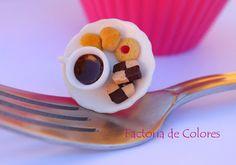 Anillo Arcilla Polimerica Miniatura Taza&Pastas Factoria de Colores