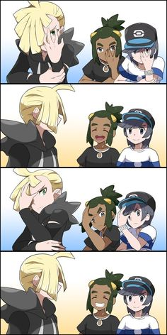 Lol. Hau and elio try to copy gladion pose.