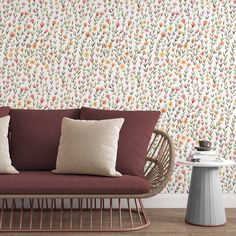 Spring Flowers Removable Wallpaper, Floral Illustration Wall Decal, Botanical Peel and Stick, Nature Wall Mural, Bright Kitchen Home Decor - Canvas Wall Decal / 1 roll: 24W x 120H