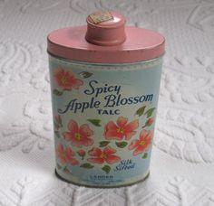 Lander talc . spicy apple blossom talc . powder in tin. powder tin . talc tin . apple blossom tin by vintagous on Etsy