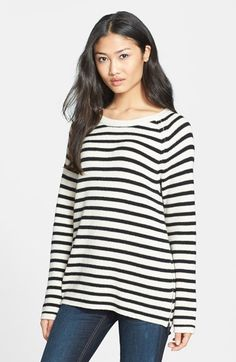Equipment 'Lucien' Stripe Zip Hem Wool Blend Sweater available at #Nordstrom