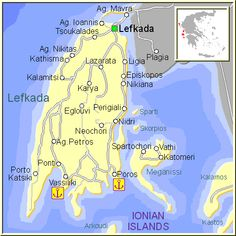 Mapa de la isla de Lefkada, en las Islas Griegas Jónicas, Grecia.