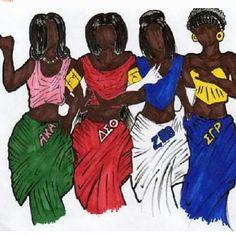Divine Nine sorority art Omega Psi Phi, Alpha Kappa Alpha Sorority, Zeta Phi Beta, Delta Sigma Theta, Aka Sorority, Sorority Sisters, Sorority Life, Sorority And Fraternity, Black Fraternities