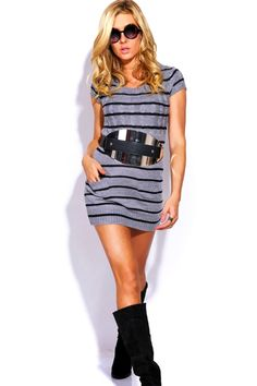 #1015store.com #fashion #style gray striped cable sweater knit pocketed tunic dress-$15.00